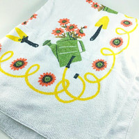 Vintage Flower Rectangle Tablecloth Retro Terry Cloth Beach Towel Blanket Gardening Water Can Seed Packet Orange Yellow Green Summer Outdoor