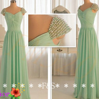 Mint Bridesmaid Dress, Long Bridesmaid Dress, Cap Sleeve Bridesmaid Dress, Bridesmaid Dress Mint, Elegant  Mint prom Dress, Mint Prom Dress