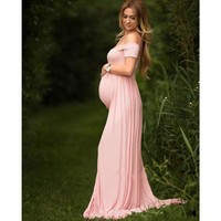 Maternity Gowns For Photo Shoots Chiffon Short Sleeve Miriam  Off The Shoulder Dress Renaissance Gown Soft Knit Bohemian