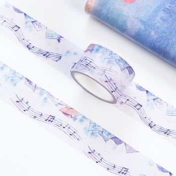 3cm*7m Dream music note forest washi tape diy decoration for scrapbooking masking tape adhesive tape kawaii stationery
