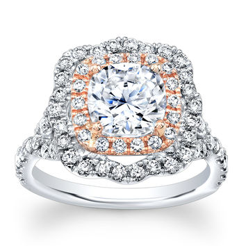Ladies 14k white gold thin cushion double halo diamond engagement ring with 2ct white sapphire center 0.80 ctw G-VS