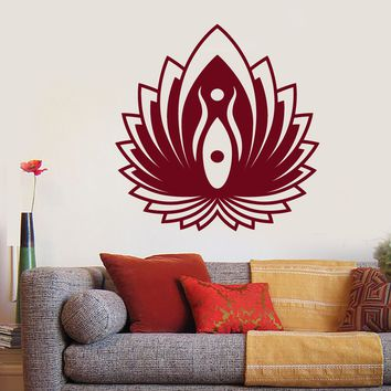 Vinyl Wall Decal Yin Yang Symbol Lotus Flower Yoga Buddhism Stickers (2598ig)