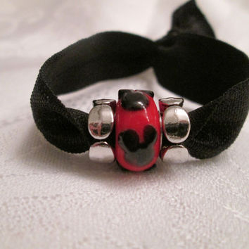 Black Fold Over Elastic Hair Tie, Red Mickey Mouse silhouette bead, Disney jewelry, Mouse ears, Minnie Mouse, Silver beads, Mickey bracelet