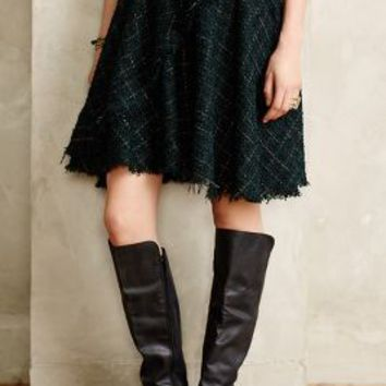Fringed Tweed Skirt by Eva Franco Dark Green