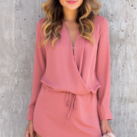 Boulevard Chiffon Long Sleeve Wrap Dress - Coral