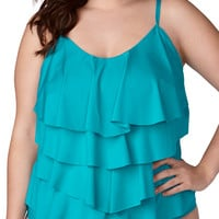 Plus Size - Peacock Tiered Tankini Swim Top - Peacock