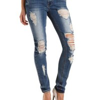 "Refuge ""Boyfriend"" Medium Wash Destroyed Jeans - Med Destroy Denim"