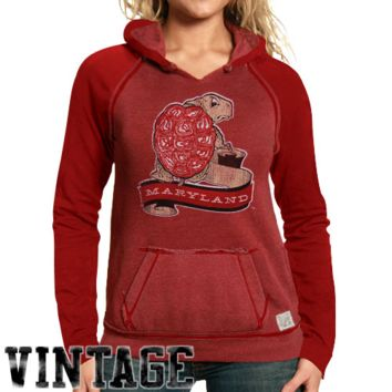 Original Retro Maryland Terrapins Ladies Two-Toned V-Neck Hooded Sweatshirt - Red