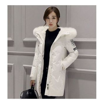 Winter Down Coat Woman Middle Long Loose Thick   white