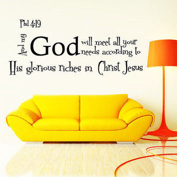Wall Decal Bible Verse Psalm Philippians 419 And My God Will Vi