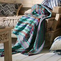 Mantita Embroidered Throw Blanket- Turquoise One