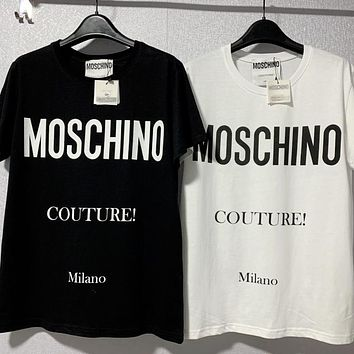 Mouschino Fashion Classic Black White Tee Shirt Top Sweatershirt