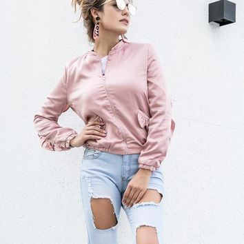 Ladies Satin Bomber Jackets Fashion Retro Baseball Coat For Women Ribbed Cuffs Solid Color Basic Outwear