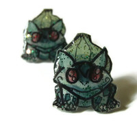 Bulbasaur Pokemon Stud Earrings, Plastic, Glitter Coating, OOAK,Hypoallergenic Surgical Steel Posts, Made to Order