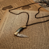 Miniature Pocket Knife Necklace- Black Lip Pearl