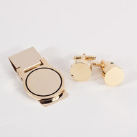 Circular Design Cufflink & Money Clip Set, Gold Plated