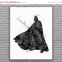 Darth Vader Poster Star Wars Print Watercolor Print Black White Instant Download