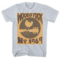 Woodstock Men's 1969 Striped Slim Fit T-Shirt - Light Gray - XL