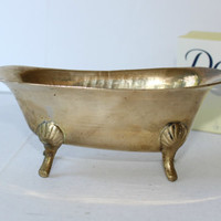 Vintage Brass Tub Soap Dish , Small Brass Bathtub Made in India , Old Fashioned Bathroom Trinket Dish , Vintage Bathroom Decor