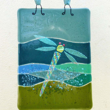 Fused Glass Dragonfly on Pond Hanging Suncatcher panel wall art