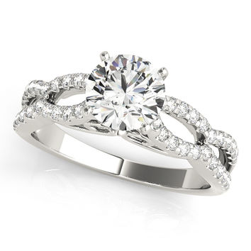 Engagement Ring -Petite Diamond Engagement Ring with Split Band-ES2017