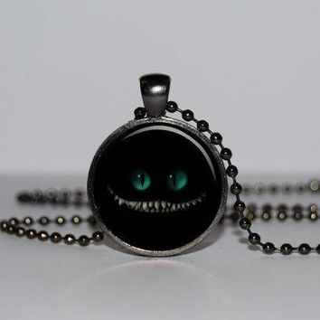 Steampunk handmade Movie Cat Cheshire Necklace alice in Wonderland Necklaces 1pcs/lot bronze silver Glass Pendant jewelry 2017