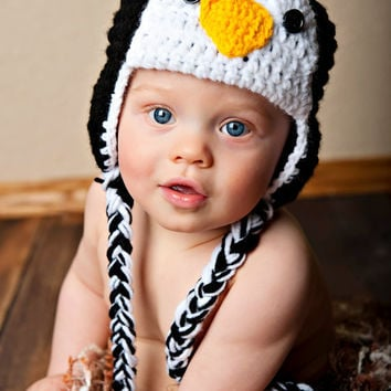 Newborn Crochet Penguin Hat by HookedOnYouByLiz on Etsy