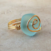 Blue Sea Glass Ring:  24K Gold Spiral Wire Wrapped Beach Jewelry, Turquoise Ocean Blue Cruise Resort Wear Accessory, Size 6