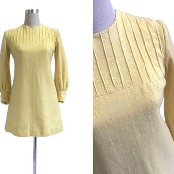 Yellow Mini Dress - Swinging Sixties Mod Retro - 1960's Dress - 60's Dress - Lemon Vintage Dress - Small