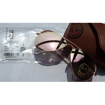 Cheap Authentic Ray Ban Aviator Sunglasses RB3025 112/z2 Pink Mirror 58mm outlet
