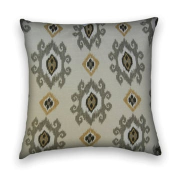 Ikat Decorative Pillow Cover- 20 x 20-Contemporary Accent Pillow Cover-- Grey, Black, Gold, Cream