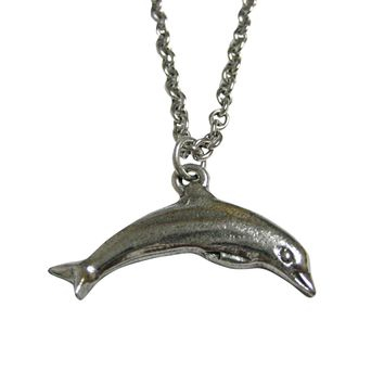 Silver Toned Textured Dolphin Pendant Necklace