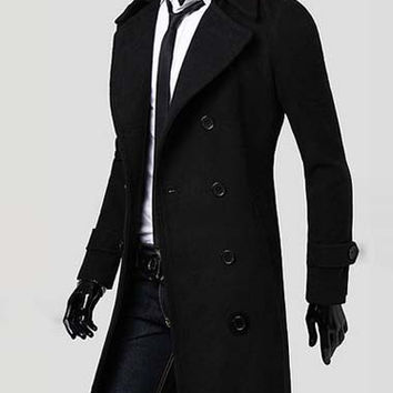 men's wool black coat