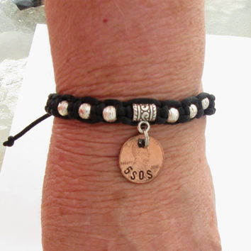 5 Seconds of Summer 5sos surfer bracelet girls boys friendship jewelry custom hand stamped penny charm black macrame cord made in USA