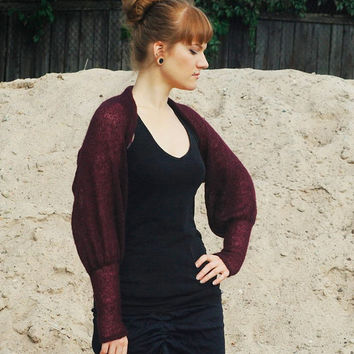 Burgundy wedding Bolero Bridal Shrug Bridesmaids cover up Victorian Bolero Knit  Wool  sweater  sizes S ; M; L; XL, 2XL, plus size bolero
