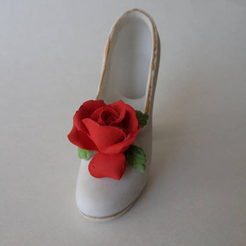 Porcelain Shoe with Red Rose, Norcrest White High Heel, 3D Sculpted Rose