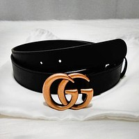 GUCCI Trend Retro Double G Classic Casual Wild Smooth Buckle Belt