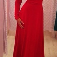 Red Long Sleeve Boat Neck V Back Bow Tie Waist Maxi Dress