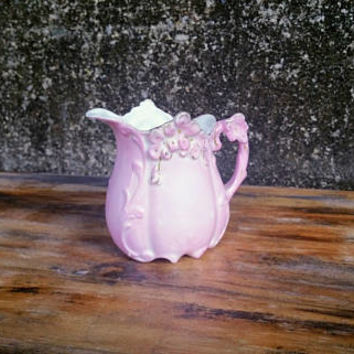 Vintage English Majolica Pink Creamer Size Pitcher