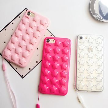 Cute Candy Color 3D DIY Star Phone Cases For iphone 7 6 6S Plus Case Fashion Stars Starry Soft TPU Silicone Cover with Lanyard
