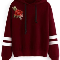 Red Striped  Embroidery Flower Long Sleeves Hoodie