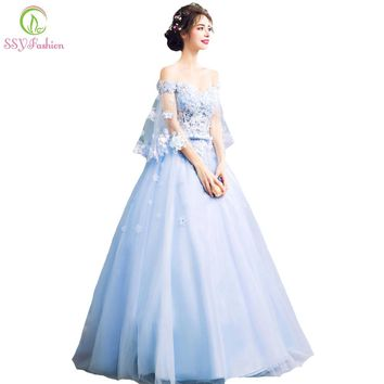 SSYFashion New Romantic Blue Flower Fairy Evening Dress Bride Banquet Lace with Beading Butterfly Sleeves Long Prom Party Gowns