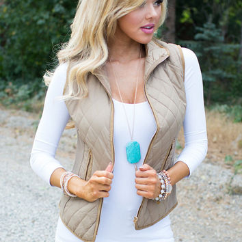 You Know Just What to Say Puffy Vest Camel