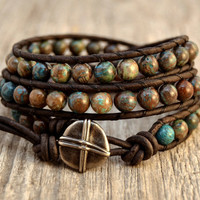 Boho chic triple wrap bracelet. Chan Luu inspired beaded blue brown bracelet