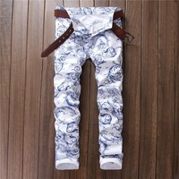 White Casual Print Hot Sale Pants [10766086531]