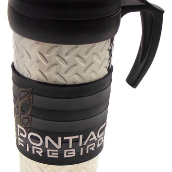 GM 1967 Pontiac Firebird '77 Travel Coffee Mug Silver Black Gray Car Auto Rubber