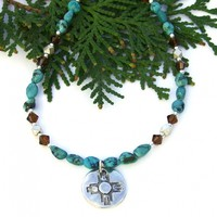 Zia Sun and Turquoise Necklace, Thai Silver Crystals Southwest Handmade Jewelry for Women