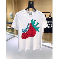 GUCCI Summer Hot Sale Women Men Cute Strawberry Letter Print Cotton T-Shirt Top White