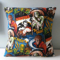 Dracula n Frankenstein rockabilly Pillow cover