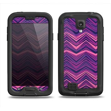 The Purple and Pink Overlapping Chevron V3 Samsung Galaxy S4 LifeProof Nuud Case Skin Set